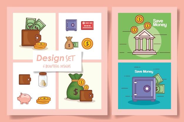 Set di carte lineare finanziaria e denaro