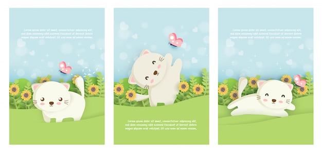 Set di carte modello gatti carino in stile taglio carta.