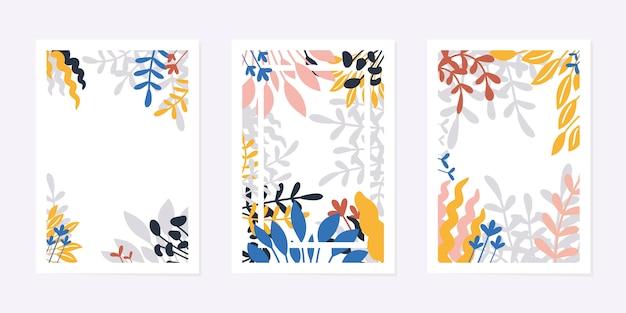 Set di carte o poster di arte universale creativa. foglie e fiori disegnati a mano, stile moderno contemporaneo. fogliame tropicale. design grafico alla moda per invito, brochure, flyer. illustrazione.