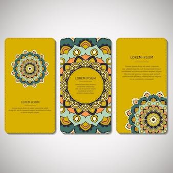 Set di carte ornamentali, volantini con mandala.