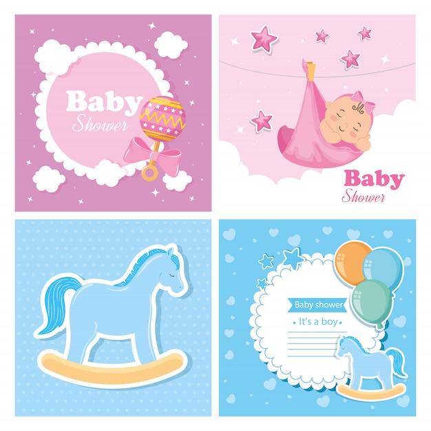 Set di carte per baby shower con decorazioni