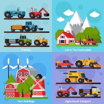 Set di carte piatte ortogonali dell'azienda agricola