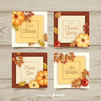 Set di carte realistico di ringraziamento