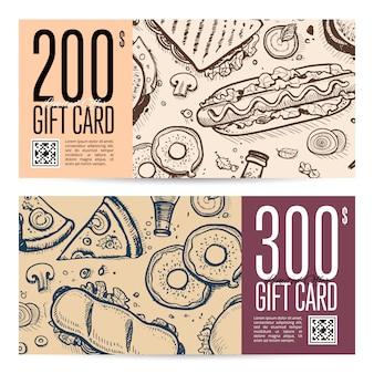 Set di carte regalo ristorante fast food in stile retrò