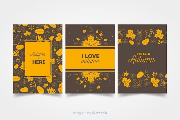 Set di carte stile autunnale piatta