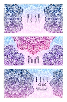 Set di carte vettoriale vintage mandala.