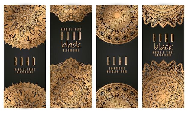 Set di carte vintage mandala vettoriale, colore oro.
