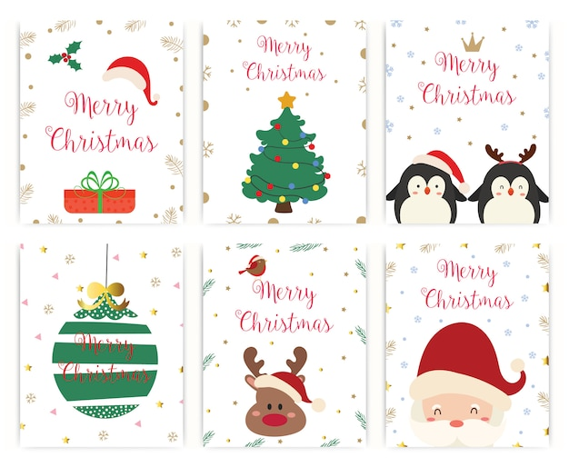Set di cartolina d'auguri di buon natale