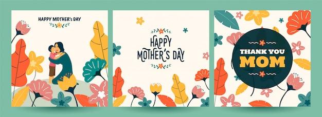 Set di cartolina d'auguri di felice festa della mamma