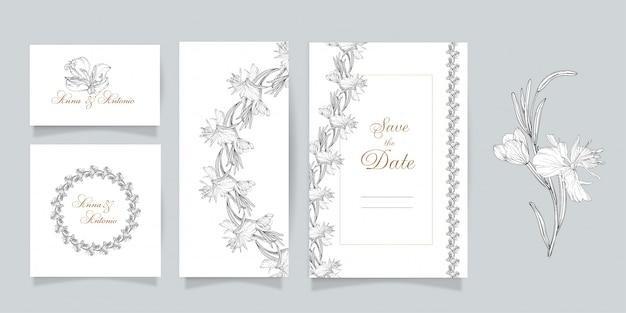 Set di cartoline con elementi floreali