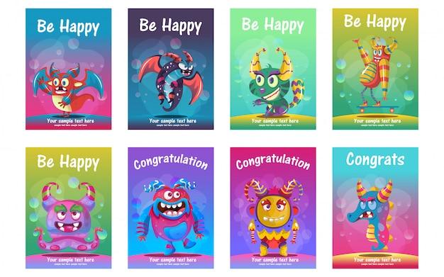 Set di cartoline d'auguri carino mostro