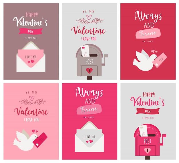 Set di cartoline d'auguri di san valentino