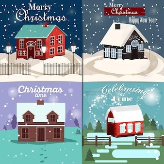 Set di cartoline di natale con la casa d'inverno