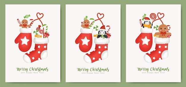 Set di cartoline di natale e cartoline di capodanno con calzini e guanti per biglietto di auguri.