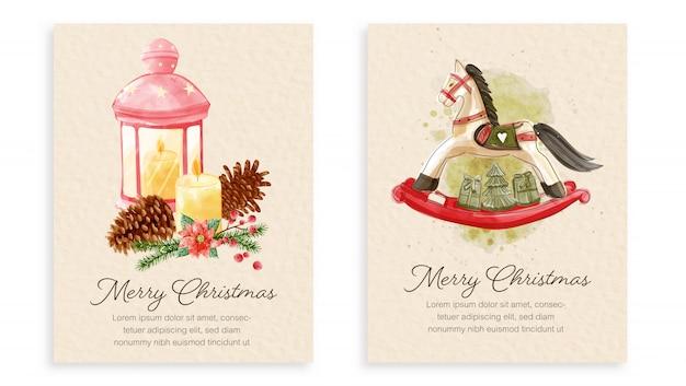 Set di cartoline di natale stile di pittura ad acquerello.