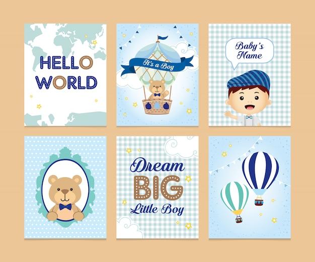 Set di cartoline di ragazzo carino, orso e mongolfiera