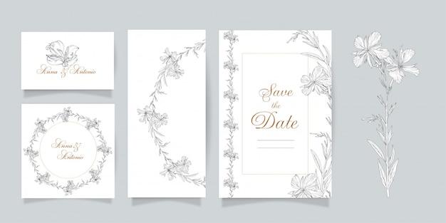 Set di cartoline. grafica vettoriale set di elementi floreali. epilobium