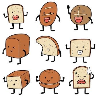 Set di cartone animato di pane