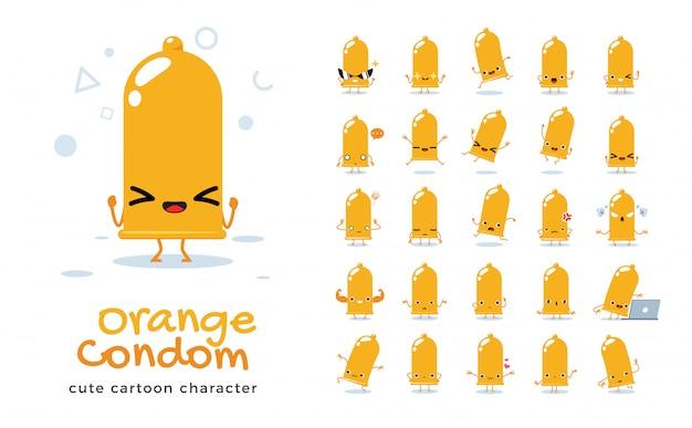 Set di cartone animato di preservativo arancione. illustrazione.