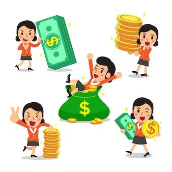 Set di cartone animato una donna d'affari con i soldi