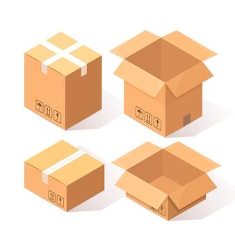 Set di cartone isometrico 3d, scatola di cartone isolato su bianco. pacchetto di trasporto in negozio, concetto di distribuzione.