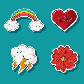 Set di cartoni animati di amore e meteo