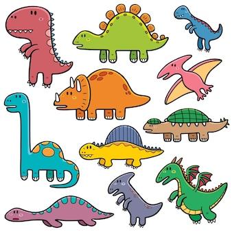 Set di cartoni animati di dinosauri