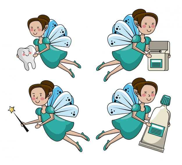 Set di cartoni animati di fata dei denti