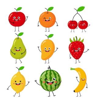 Set di cartoni animati di frutta tropicale caratteri stile kawaii isolato su bianco.