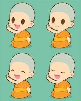 Set di cartoni animati di monaco.