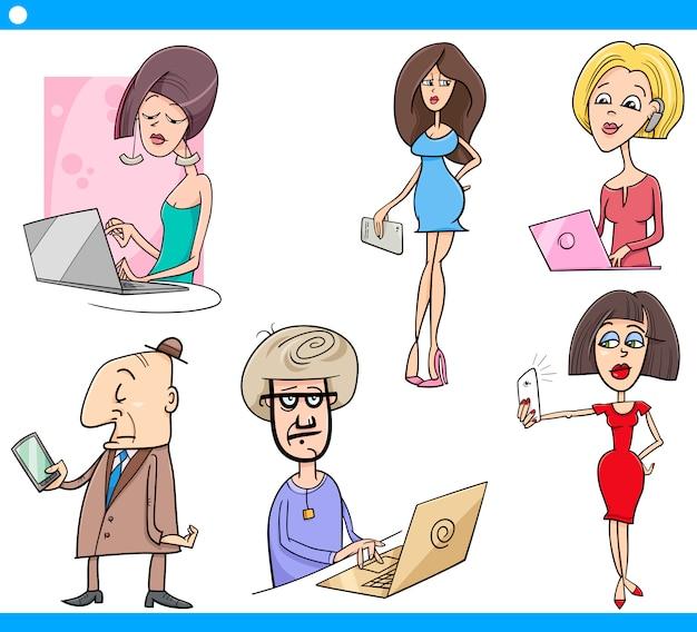 Set di cartoni animati di persone e tecnologia