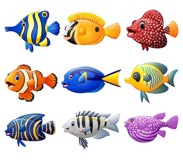 Set di cartoni animati di pesce