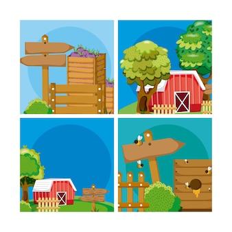 Set di cartoni animati freschi di fattoria