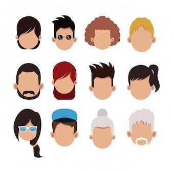 Set di cartoni animati senza volto di persone