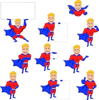 Set di cartoon di supereroi con segno bianco