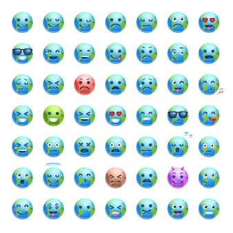 Set di cartoon earth faces with different emozioni smiling planet icons collection