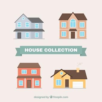 Set di case con belle facciate