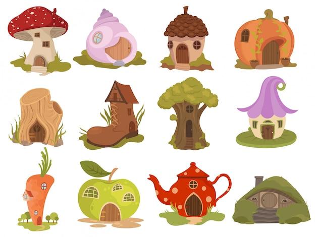 Set di case da favola. collezione di case dei cartoni animati a forma di zucche, teiere, stivali.