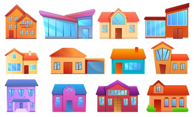 Set di case moderne, stile cartoon