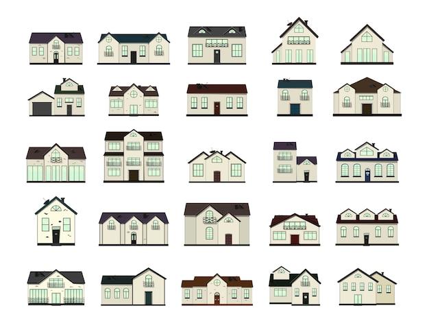 Set di case su bianco