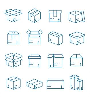 Set di cassetta dei pacchi, icone del pacchetto con struttura di stile