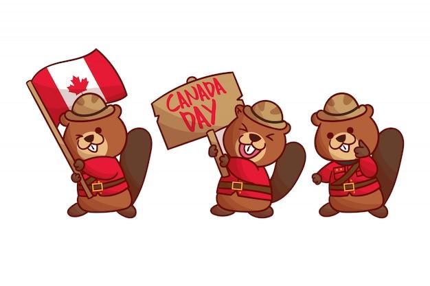 Set di castoro per il giorno del canada