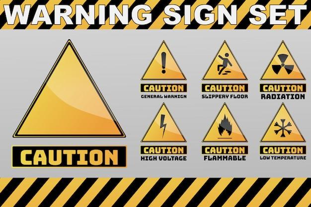 Set di cautela attenzione cartello giallo