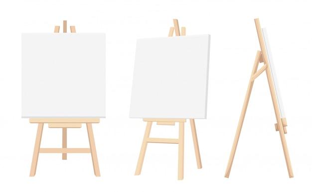 Set di cavalletti in legno marrone terra di siena con mock up tele vuote vuote su sfondo scrivania vernice e carta bianca su sfondo. illustrazione vettoriale pagina del sito web e app mobile.
