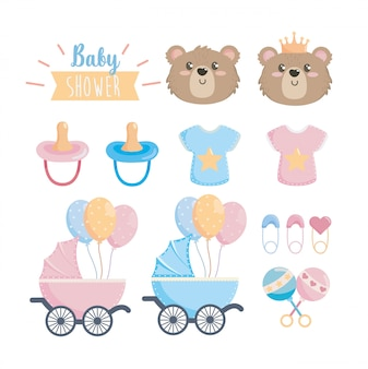 Set di celebrazione della doccia di bambino felice