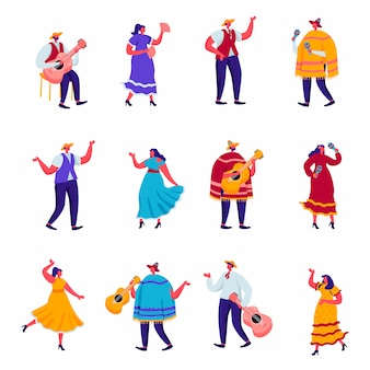 Set di celebrazione piatto di una festa tradizionale messicana in personaggi tradizionali vestiti colorati