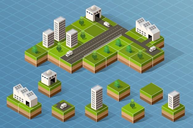 Set di centro città isometrica sulla mappa con un gran numero di edifici