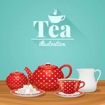 Set di ceramiche per tè rosso a pois con piattino in teiera