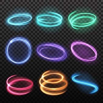 Set di cerchi al neon sfocato movimento