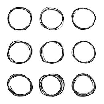 Set di cerchi di scarabocchi disegnati a mano